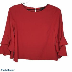 J Crew Lana Tiered Bell Sleeve Drapey Crepe Blouse
